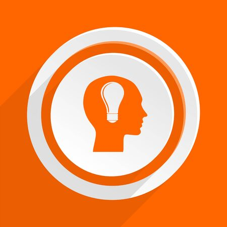 keen: head orange flat design modern icon for web and mobile app
