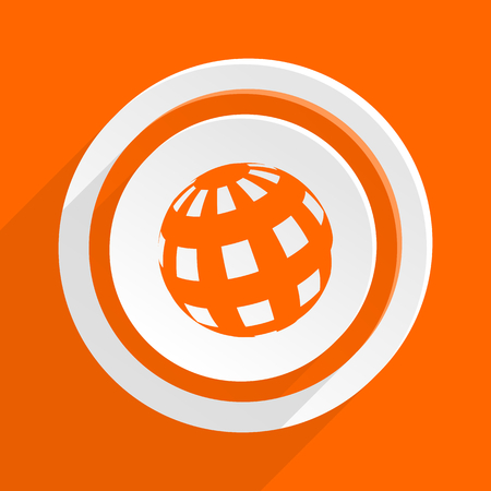 meridian: earth orange flat design modern icon for web and mobile app Stock Photo