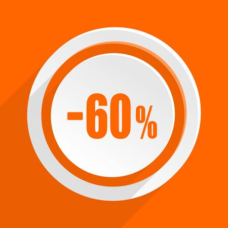 60: 60 percent sale retail orange flat design modern icon for web and mobile app Stock Photo