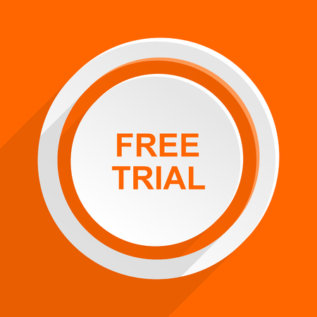 free trial: free trial orange flat design modern icon for web and mobile app