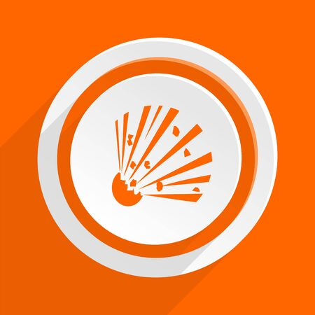 explosion hazard: bomb orange flat design modern icon for web and mobile app