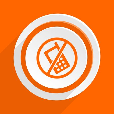 indicate: no phone orange flat design modern icon for web and mobile app