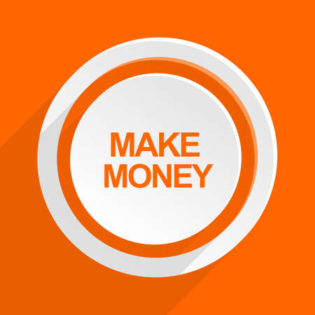 make money: make money orange flat design modern icon for web and mobile app