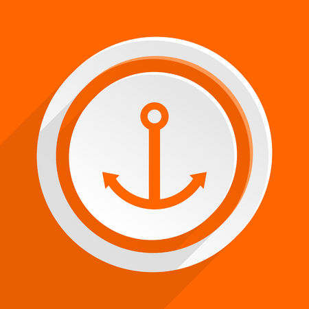 quay: anchor orange flat design modern icon for web and mobile app