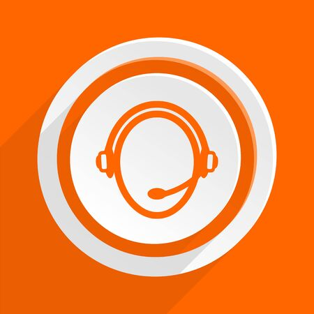 mobile app: customer service orange flat design modern icon for web and mobile app
