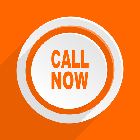 mobile app: call now orange flat design modern icon for web and mobile app