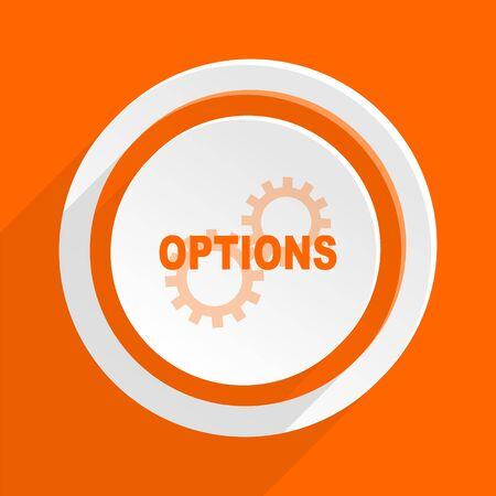option key: options orange flat design modern icon for web and mobile app