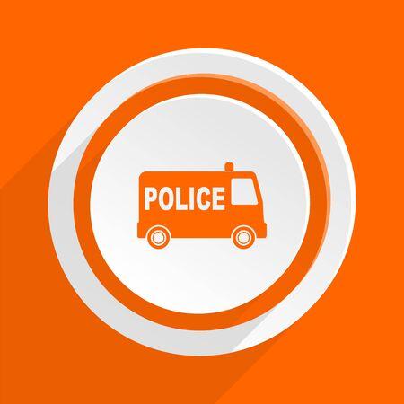 highway patrol: police orange flat design modern icon for web and mobile app
