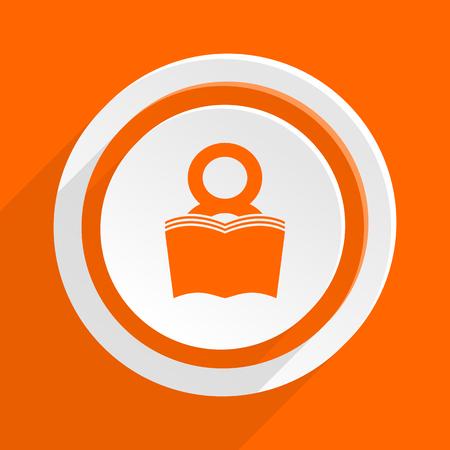 bibliophile: book orange flat design modern icon for web and mobile app