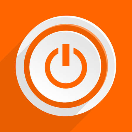 run off: power orange flat design modern icon for web and mobile app Stock Photo