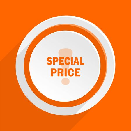 special price: special price orange flat design modern icon for web and mobile app Stock Photo
