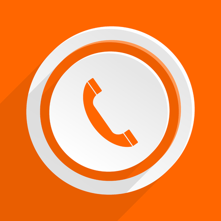 mobile app: phone orange flat design modern icon for web and mobile app