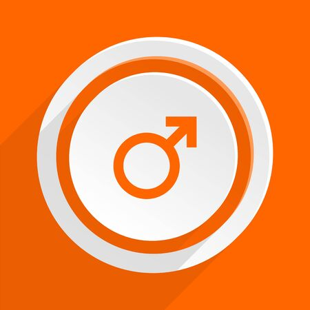 homosexual sex: male orange flat design modern icon for web and mobile app Stock Photo