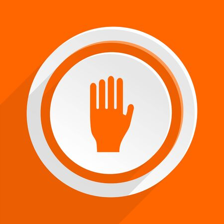 entrance is forbidden: stop orange flat design modern icon for web and mobile app