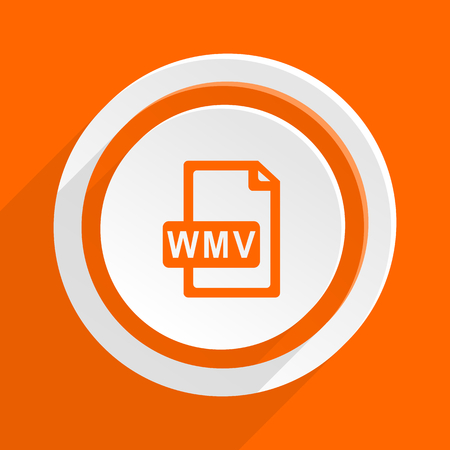 wmv: wmv file orange flat design modern icon for web and mobile app Stock Photo