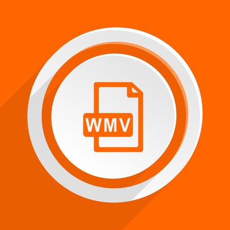 wmv: wmv file orange flat design modern icon for web and mobile app Stock Photo