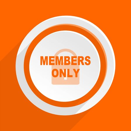 private party: members only orange flat design modern icon for web and mobile app