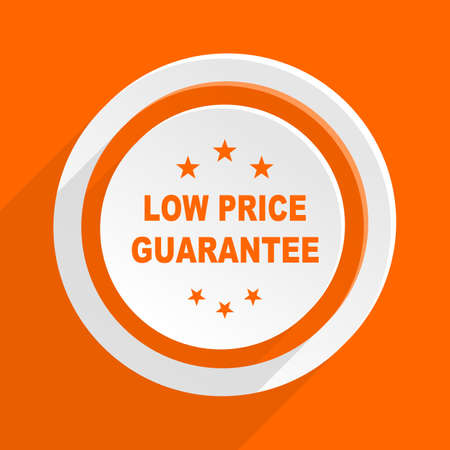 low price: low price guarantee orange flat design modern icon for web and mobile app Stock Photo