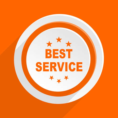 best service: best service orange flat design modern icon for web and mobile app