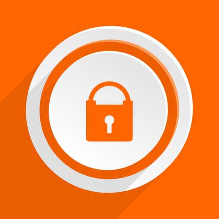 trustworthy: padlock orange flat design modern icon for web and mobile app