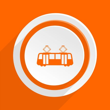 streetcar: tram orange flat design modern icon for web and mobile app