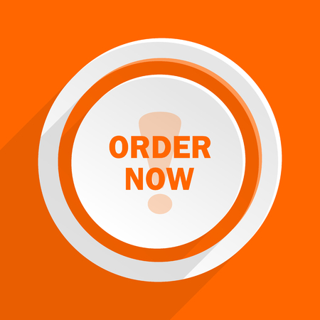 order now: order now orange flat design modern icon for web and mobile app