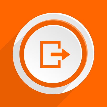 way to go: exit orange flat design modern icon for web and mobile app