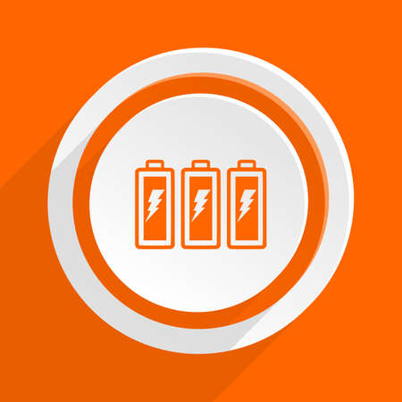accuse: battery orange flat design modern icon for web and mobile app Stock Photo