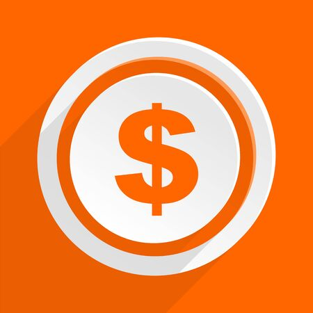 us coin: dollar orange flat design modern icon for web and mobile app