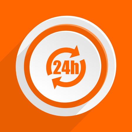 24h: 24h orange flat design modern icon for web and mobile app