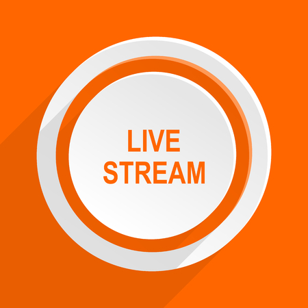 live stream movie: live stream orange flat design modern icon for web and mobile app