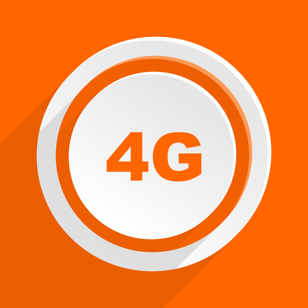4g: 4g orange flat design modern icon for web and mobile app Stock Photo