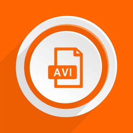 avi: avi file orange flat design modern icon for web and mobile app Stock Photo