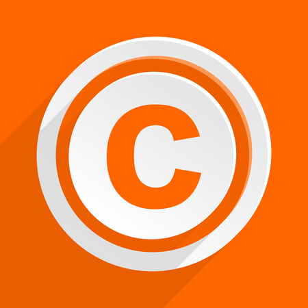 patent key: copyright orange flat design modern icon for web and mobile app Stock Photo