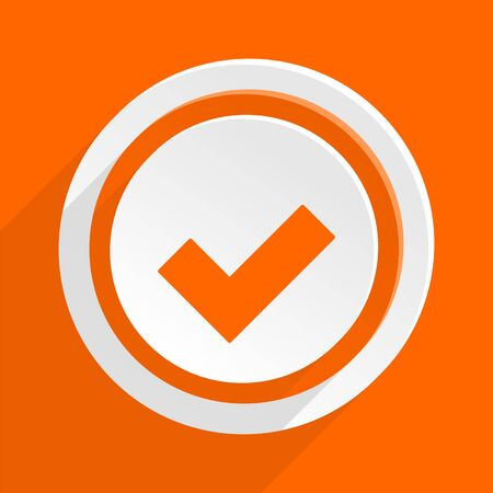 to accept: accept orange flat design modern icon for web and mobile app