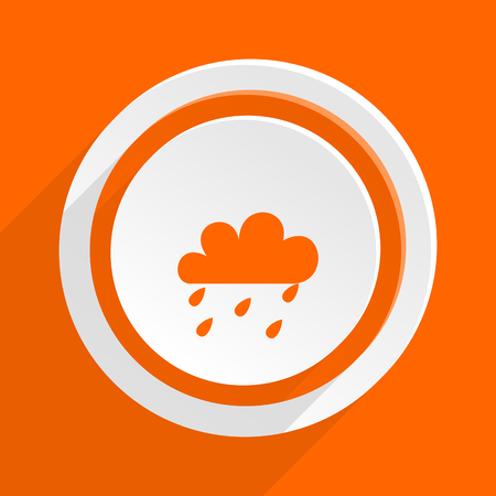 stormy clouds: rain orange flat design modern icon for web and mobile app