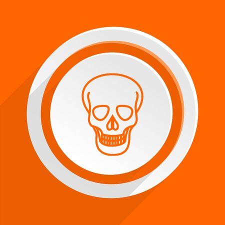pirating: skull orange flat design modern icon for web and mobile app Stock Photo