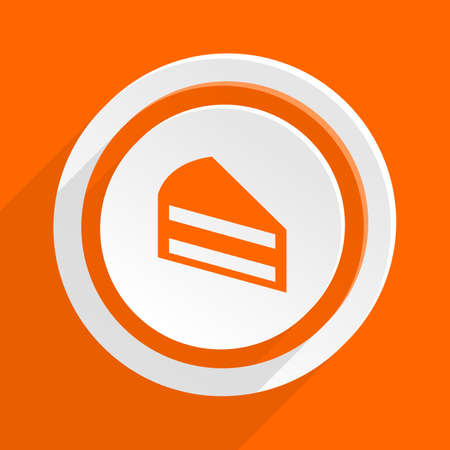 cake slice: cake orange flat design modern icon for web and mobile app Stock Photo