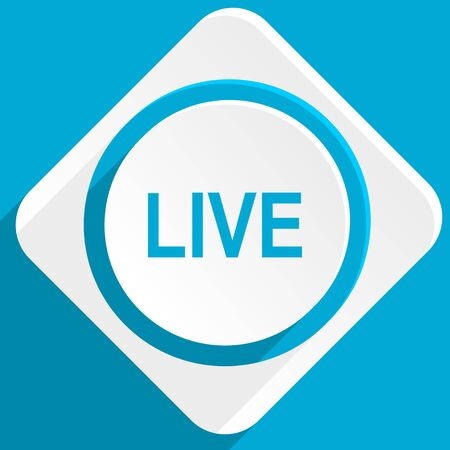 news cast: live blue flat design modern icon for web and mobile app