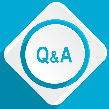 question and answer: question answer blue flat design modern icon for web and mobile app