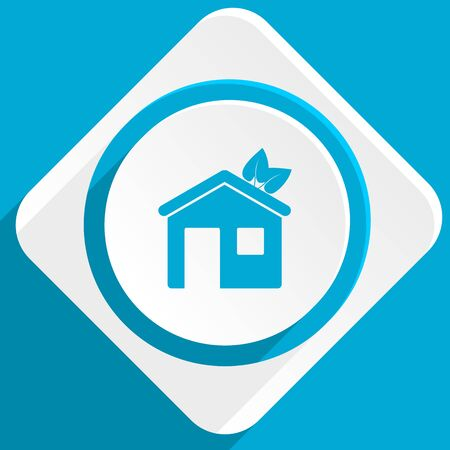 logo element: house blue flat design modern icon for web and mobile app