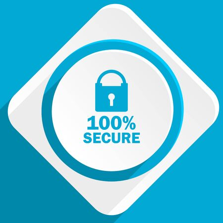 web application: secure blue flat design modern icon for web and mobile app