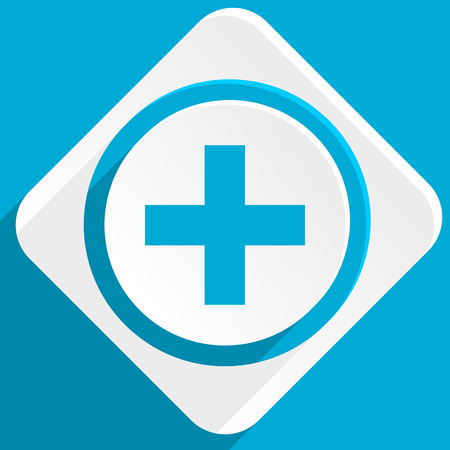 pathology pharmacy: plus blue flat design modern icon for web and mobile app Stock Photo