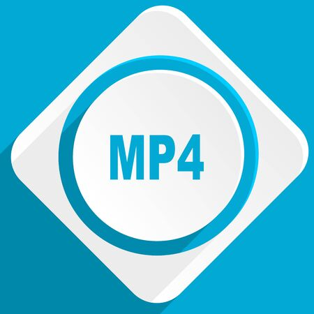 mp4: mp4 blue flat design modern icon for web and mobile app
