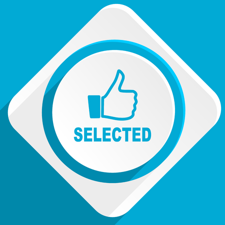selected: selected blue flat design modern icon for web and mobile app Stock Photo