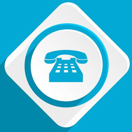 technological and communication: phone blue flat design modern icon for web and mobile app
