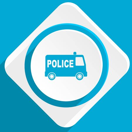 highway patrol: police blue flat design modern icon for web and mobile app