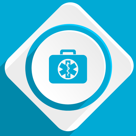 first aid kit key: rescue kit blue flat design modern icon for web and mobile app