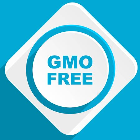 gmo: gmo free blue flat design modern icon for web and mobile app
