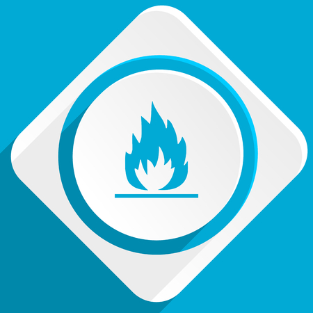 blue flame: flame blue flat design modern icon for web and mobile app